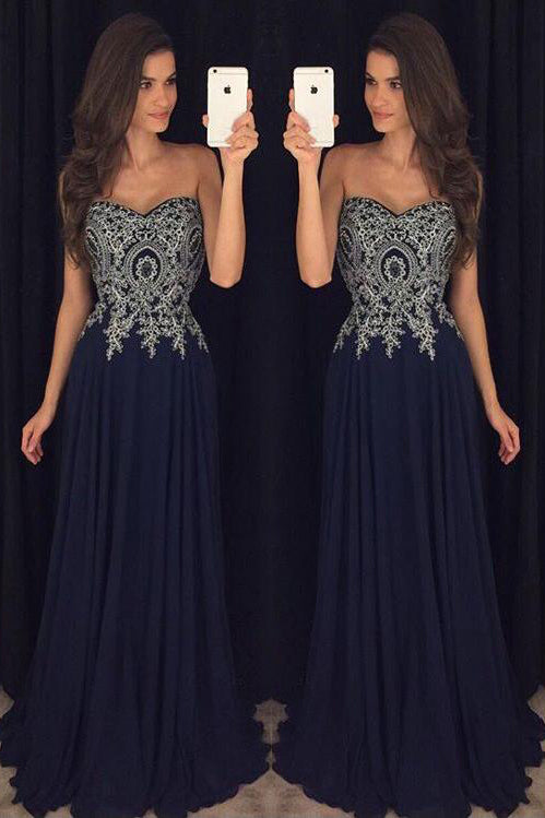 Sweetheart Prom Dresses,Navy Blue Prom Dresses,Chiffon Prom Dress,Long Prom Gown