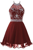 Cute Homecoming Dresses,A Line Homecoming Dresses,Chiffon Homecoming Dresses,Short Prom Dresses,Halter Prom Dresses,Burgundy Prom Dresses,Graduation Dresses,Sweet 16 Dresses,Beading Homecoming Dresses