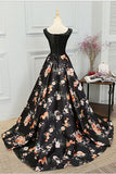 Stylish A Line Long Floral Printed Prom Dress,Formal Evening Dress OK831