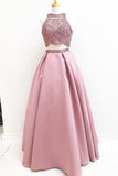 Gorgeous Prom Dresses,Two Piece Prom Gown,Beading Prom Dress,Pink Prom Dress,SatinEvening Dress
