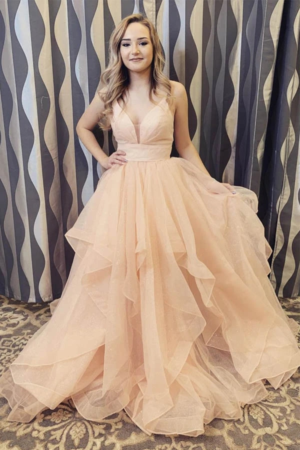 Elegant Spaghetti Straps A Line Long Prom/Formal Dress with Ruffles OKT98