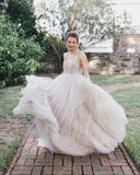 Ball Gown Sexy Deep V-Neck Beaded Bodice Rustic Wedding Dress OKU45