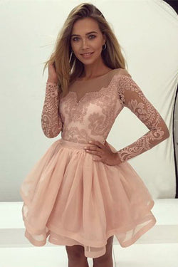 A-Line Homecoming Dress,Round Neck Prom Dresses,Long Sleeves Prom Gown,Pink Homecoming Dresses,Organza Homecoming Dress,Short Homecoming Dress with Lace