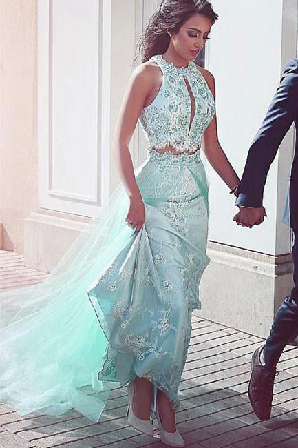 Unique Prom Dresses,Lace Prom Gown,Two Pieces Prom Dress,Two Pieces