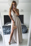 Sexy Prom Dress,Grey prom dress,v neck prom dress,long Prom Gown,chiffon prom dress