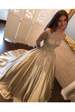 Charming Satin Ball Gown Long Sleeve Lace Appliques Prom Dress OK853