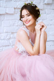 New Arrival Pink Princess Tulle Floor-length Appliques Lace A Line Long Prom Dresses OK823