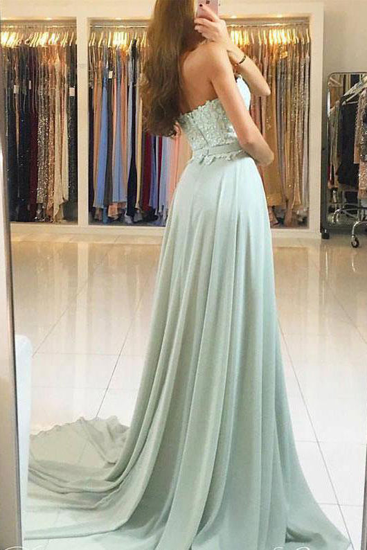 Sweetheart Strapless Cheap Long Chiffon Prom Dresses with Lace OK781