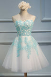 A-Line Homecoming Dress,Sweetheart Homecoming Dresses,Short Homecoming Dresses,White Homecoming Dress,Tulle Homecoming Dress with Appliques