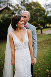 Chic V Neck Sleeveless Mermaid Lace V Back Wedding Dress OKU47