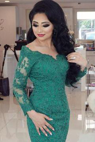 Elegant Long Sleeves V-neck Green Lace Mermaid Prom Dresses 2018 OK667