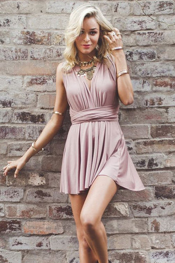 A-Line Homecoming Dresses,Deep V-Neck Prom Dresses,Criss-Cross Homecoming Dress,Straps Prom Dress,Short Homecoming Dress,Blush Stretch Homecoming Dress