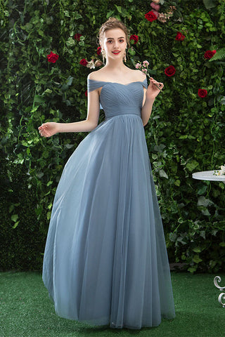 A Line CHiffon Blue Off the Shoulder Prom Dress, Long Bridesmaid Dresses OKQ78
