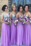 A Line Chiffon Beading Bridesmaid Dresses,Spaghetti Straps Long Bridesmaid Dress OK116