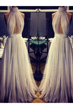 2018 A-line Cheap Long Sexy Simple Ivory High Neck Tulle Prom Dress OK759