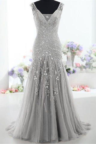 Modest Silver V-neck Long Mermaid Lace Up Prom Evening Dresses K170