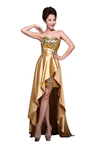 Sweetheart Gold Long Beading Handmade Prom Dress Evening Dresses K681