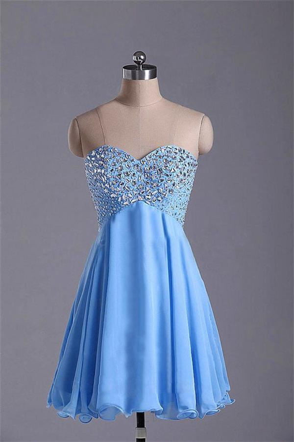 Light Sky Blue Short Sweetheart Beaded High Low Homecoming Dresses K228