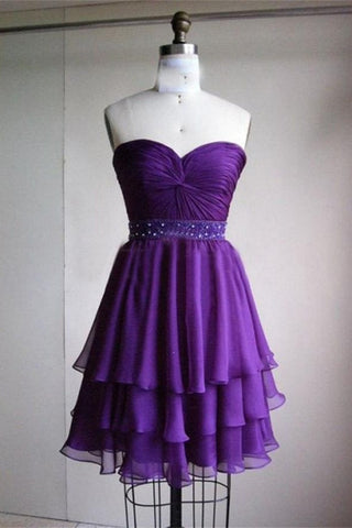 Cute Short Purple Beading Strapless Elegant Homecoming Dresses K229