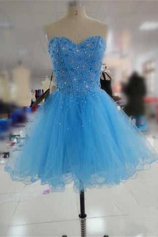 Lace Up Beaded Sleeveless Short Blue Beading Homecoming Dresses K230