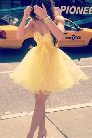 Yellow Short Modest Sweetheart Cute Homecoming Dresses K236