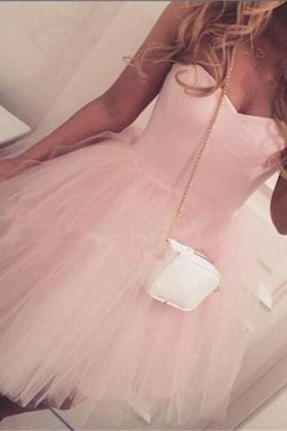 Custom Made Simple Short Pink Cute Sweetheart Homecoming Dresses K237