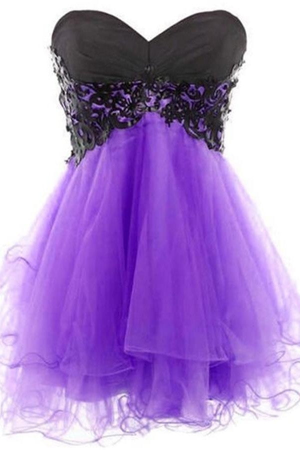 Hot Selling Black Lace And Purple Skirt Cute Beauty Homecoming Dresses K239
