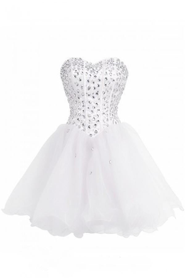 Girly White Beading Short Sweetheart Lace Up Homecoming Dresses K243