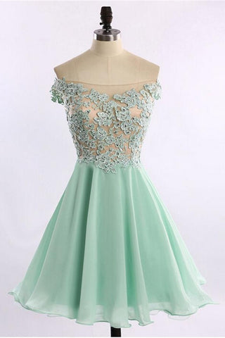 Boat Neckline Short Lace Chiffon Homecoming Dresses For Teens K270