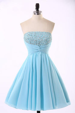 2016 Sky Blue Short Chiffon Strapless Elegant Homecoming Dresses K272