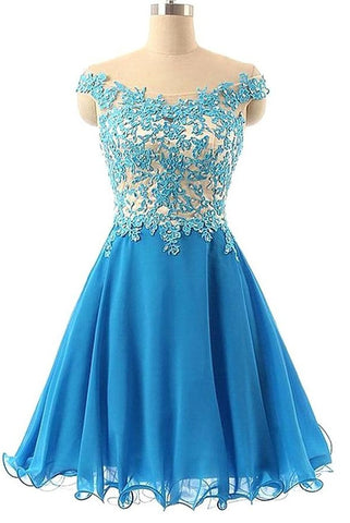Elegant Lace Short Tulle Handmade Blue Homecoming Dresses K162