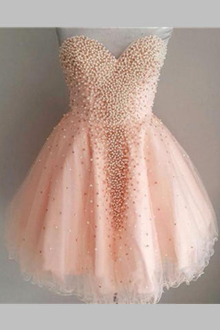 Sleeveless Pink Beading Cute Girly Short Homecoming Dresses K276
