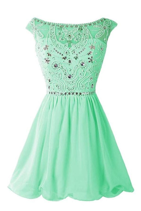 Green Chiffon Short Cute Classy Girly Homecoming Dresses K315