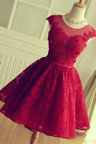 Pretty Red Lace Short Homecoming Dresses For Teens K316