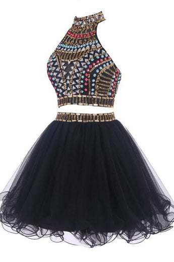 Pretty Black Short Handmade Beading Homecoming Dresses K318