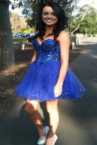 Royal Blue Short Cute Strapless Sparkly Homecoming Dresses K321