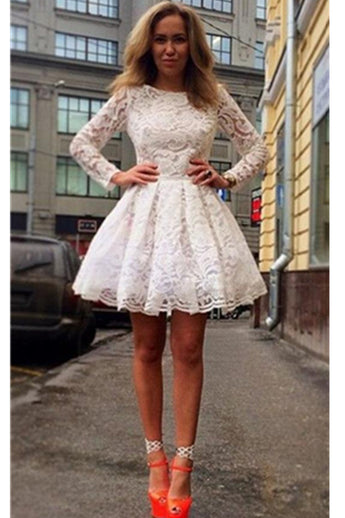 Long Sleeves White Lace Short Classy Homecoming Dresses K325
