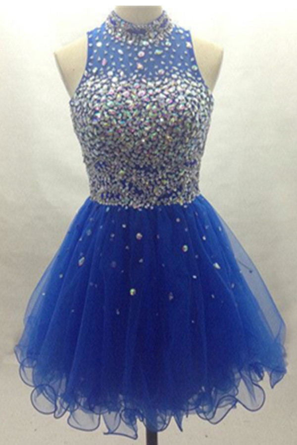 Lovely Blue Beading High Neck Tulle Pretty Charming Homecoming Dresses K382
