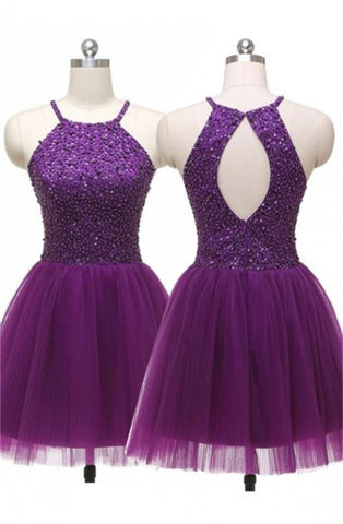 Purple Open Back Short Beaded Pretty A-line Homecoming Dresses K383