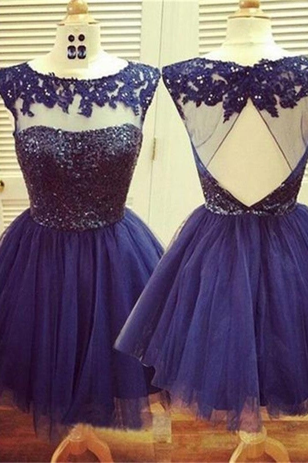 Blue Short A-line Open Back Lace Beaded Homecoming Dresses K410