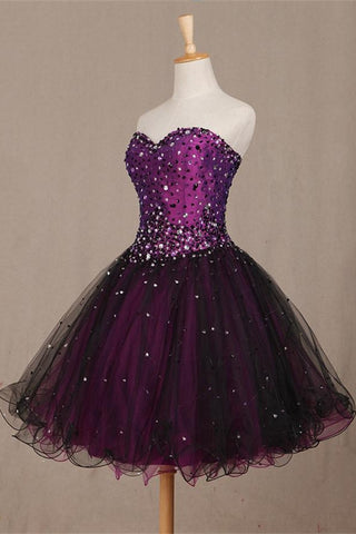 Beauty Lace Up Beading Short Handmade Strapless Homecoming Dresses K413