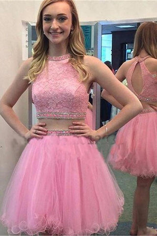Pretty Pink Tulle Beaded Lace  Two Pieces Homecoming Dresses K415