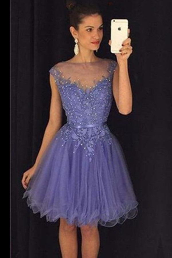 Beautiful Purple Lace Beaded Handmade Classy Short Homecoming Dresses  K416