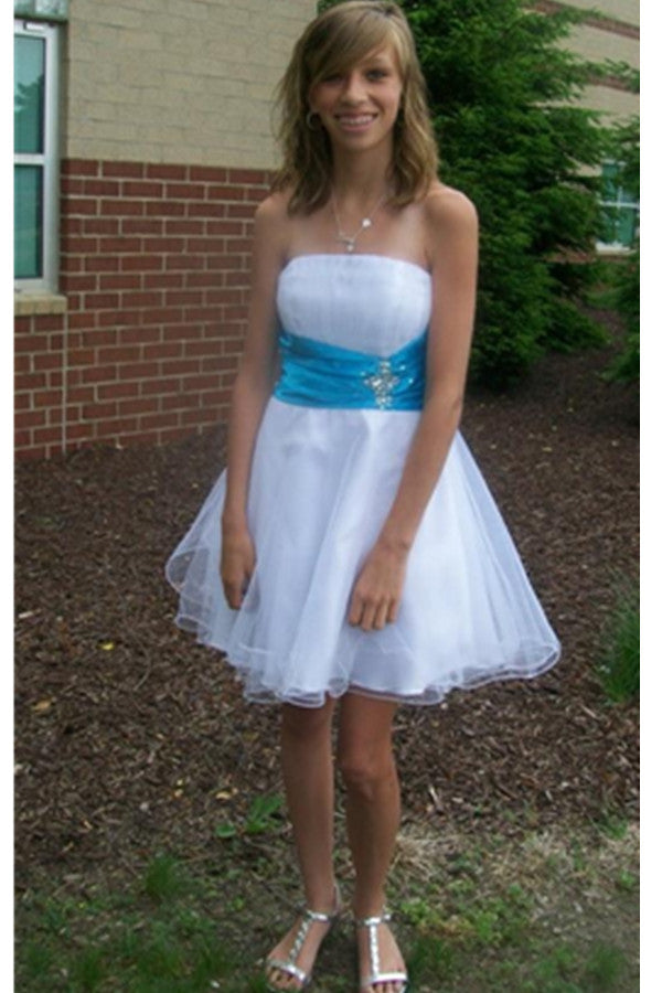 White Strapless Short Handmade Cute Classy Homecoming Dresses With Blue Belt K419