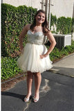 Plus Size Short Sweetheart Handmade Beaded Tulle Homecoming Dresses K421