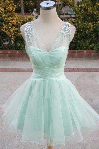 Girly Mint Short Cute Elegant V-neck Homecoming Dresses – Okdresses