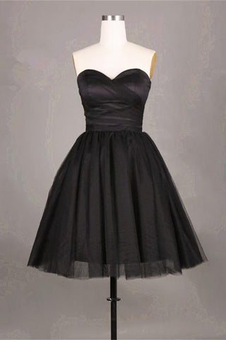 Simple Black Tulle Homecoming Dresses Short Prom Dresses Cocktail Dresses K423