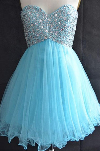 Ice Blue Tulle Sweetheart High Low Beaded Homecoming Dresses K424