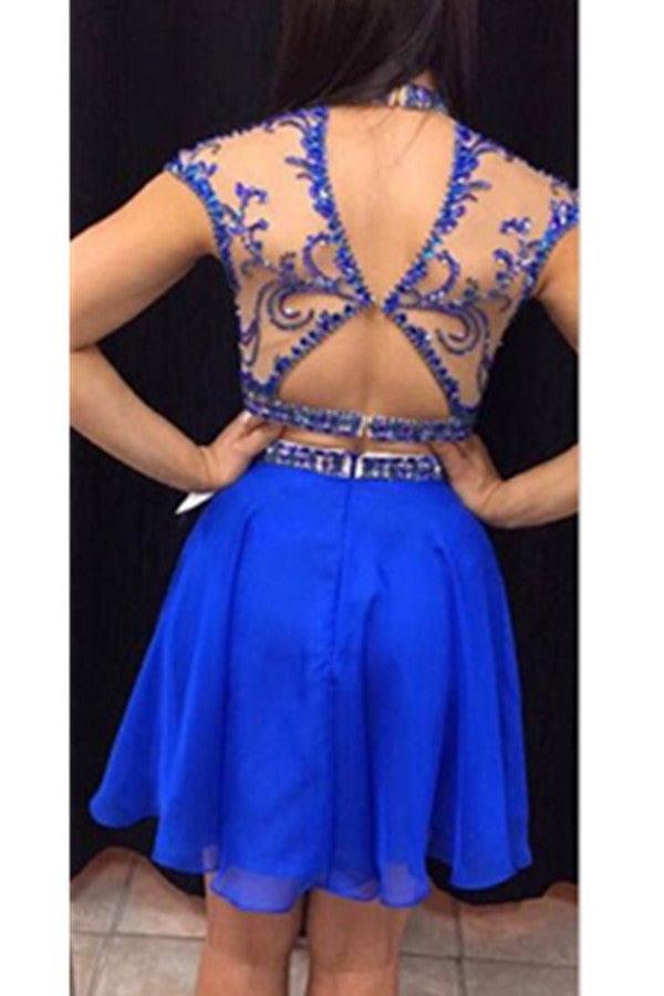 Royal Blue Handmade Short Beading High Neck Open Back 2 Pieces Homecoming Dresses K426