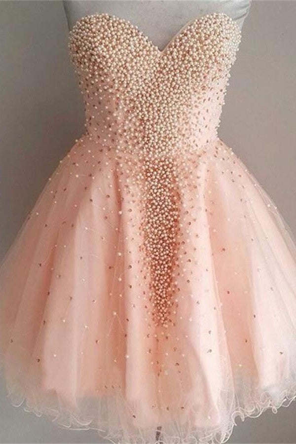 Pretty Pink Sweetheart Beaded Tulle A-line Homecoming Dresses K427